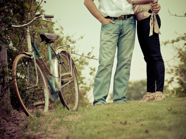 Vintage Engagement with Bicycle